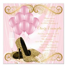 Shop Womans Pink Gold Birthday Party Invitations created by Pure_Elegance. Pink Party Favors, 21st Birthday Decorations, 50th Birthday Party Invitations, Pink Invitations, Elegant Invitations, Pink And Gold Birthday Party, Elegant Birthday Party, Gold Party, Birthday Parties
