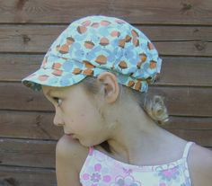 Children summer hat cotton light blue and brown by Lupeworks, $26.00