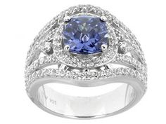 Charles Winston For Bella Luce (R) Tanzanite Color & White 6.14ctw Rhodium Plated Silver Ring