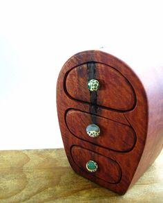 Wooden Box Bandsaw Jewelry Australian Timber Redgum Burl Glass Knob Cave
