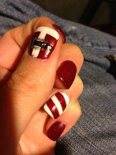 Christmas nails - Santa and candy cane