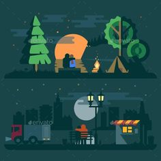 Flat Romantic Landscape with a Couple  #graphicriver