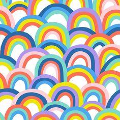 Paintbrush Studio, Rainbows Fabric - White/Multi