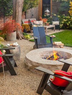 Loads of DIY options exist to add a fire pit to an outdoor patio space, including kits and simple how-tos. This element can help transition a gathering spot from warmer to cooler days and offer an extra surface that can be used as a serving or seating surface when unlit./