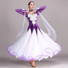 4742334b9873 Ballroom Dance Dresses Women's Training Performance Tulle Velvet Appliques  Crystals / Rhinestones Long Sleeves High Dress