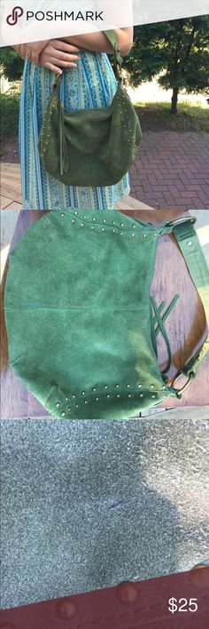 Lucky Brand Purse - Green Suede Olive green suede color purse with a brushed gold/brass color accents.  Love this purse.  Does have signs of wear as shown in pictures - suede has some dirt marks around edges and bottom of purse.  Picture shows one pen mark small pen mark in upper corner of purse.  Lining is in great condition. Lucky Brand Bags Shoulder Bags
