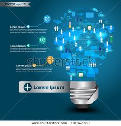 Creative light bulb with technology business Network process diagram concept idea, Vector illustration Modern template Design by My Life Gra...