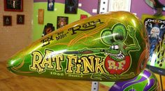 "Rat Fink by Ed ""Big Daddy"" Roth Motorcycle Paint Jobs, Motorcycle Logo, Motorcycle Design, Rat Fink, Ed Roth Art, Garage Art, Custom Paint Jobs, Pinstriping, Big Daddy"
