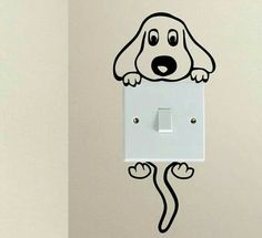 Cute Dog Cartoon Doggy Puppy Baby Pet light switch funny vinyl Love Heart decor funny wall art decal stickers Baseboard Kids - New Deko Sites