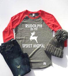 Unisex Baseball Tri-Blend T-Shirt Rudolph Is My Spirit Animal by BirchBearCo on Etsy