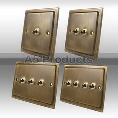 10A Toggle Dolly Light Switch 1, 2, 3 & 4 Gang Victorian Period Antique Brass