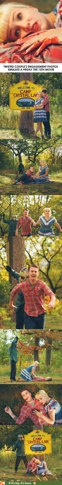 This engaged couple decided to take some very different engagement photos. See the whole story at http://www.ifitshipitshere.com/till-death-do-us-part-a-couples-engagement-photos-emulate-friday-the-13th/