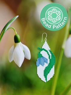 Snowdrop brick stitch pattern – Snowdrop brick stitch earrings Must … - Modern Jewelry Patterns, Beading Patterns, Flower Patterns, Mosaic Patterns, Bracelet Patterns, Embroidery Patterns, Beading Techniques, Beading Tutorials, Brick Stitch Tutorial