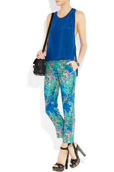 SANDRO  Pressage tapered floral-print twill pants