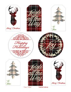 Free Printable Holiday Gift Tags- Christmas Plaid Edition.