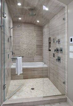 Love this bath/shower combo...good space saver...would love to put a steam unit in...can do steam bath!