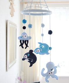 Babys Fishy Mobile  READY TO SHIP by FlossyTots on Etsy, £44.99