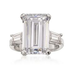 9.75 ct. t.w. Emerald-Cut and Baguette CZ Ring in Sterling Silver