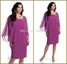 e7272697585 New Design Gorgeous Square Neck Chiffon Beaded Knee Length Custom made  mother of the bride dresses