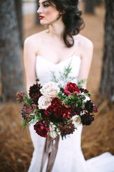 burgundy wedding bridal bouquet with dahlias peonies and roses via casto photography and cinema