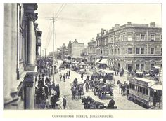 By 1896 Johannesburg had bricks-and-mortar buildings, electricity, and horse-drawn trams. Johannesburg City, South African News, War Novels, Antique Maps, Big Ben, Louvre, Street View, History, Places