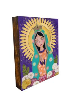 Our Lady of Guadalupe 2 Art Painting Print Mounted by Evonagallery