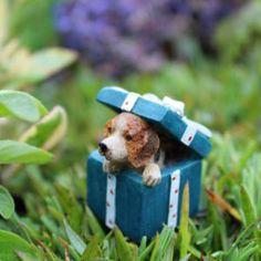 fairy garden Christmas puppy, fairy garden present, fairy Christmas tree, miniature presents, miniature Christmas gifts, fairy gifts