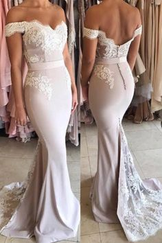 Off The Shoulder Open Back Lace Mermaid Formal 2018 Evening Dress