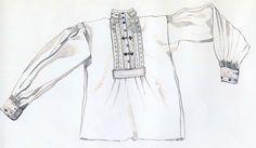 Mužská košeľa, Bunetice, začiatok 20. storočia. Košeľa mestského strihu je ušitá z bavlneného plátna. Na hrudi, golieri a manžetách ju zdobí výšivka z bielej bavlnky. Drobný motív vyšitý čiernou bavlnkou znamená, že košeľa bola určená pre ženatého muža. Mládenci mali výšivku len v bielej farbe. Košele mestského strihu vystriedali koncom 19. storočia staršie košele rovného strihu z domáceho plátna.