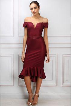 Wine Bardot Fishtail Midi Dress