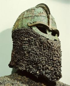 This helmet was discovered in a ship burial from Valsgarde in Sweden, c. 7th century AD