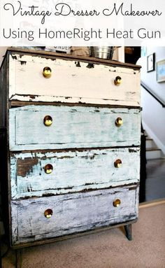 Easy technique for giving painted wood a vintage and distressed look using a heat gun.