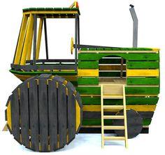 cool wooden tractor playhouse plans for kids #WoodworkingPlansForKids #kidsplayhouseplans