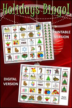 Bingo is a GREAT holiday activity for home or school. Includes symbols for winter, Christmas, Hanukkah, Kwanzaa. 30 boards for large group play. Includes both printable and digital versions. #holidays, #Christmas, #gamesforkids Christmas Party Games For Kids, Holiday Party Games, Kids Party Games, Party Activities, Holiday Activities, Christmas Hanukkah, Happy Hanukkah, Winter Christmas, Christmas Ideas