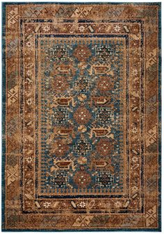 Rizzy Rugs Blue Traditional-European Layered Rows Area Rug Bordered BV3728 #RugsandTiles #TraditionalEuropean