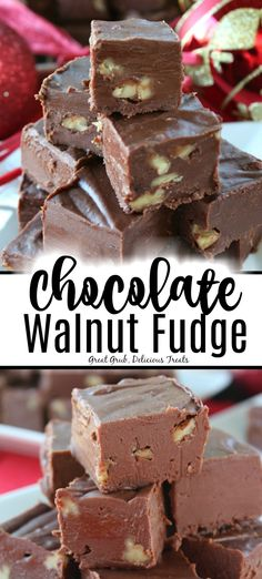 Chocolate Walnut Fudge is an easy fudge recipe that is rich and creamy with chopped walnuts. Chocolate Walnut Fudge is an easy fudge recipe that is rich and creamy with chopped walnuts. Köstliche Desserts, Holiday Baking, Christmas Desserts, Delicious Desserts, Dessert Recipes, Health Desserts, Walnut Fudge Recipe, Best Fudge Recipe, Walnut Recipes