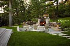 Love this outdoor fireplace setting! Gotta have Betty teach me to build these chairs soon!