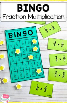 Are you looking for a fraction multiplication activity that will engage your students in learning?  This multiplying fractions bingo is the perfect game for 5th grade.  Use as a whole class, in small groups or as a center activity to help students master fraction multiplication.  Students love games and active learning and this bingo game will have them asking to play it again and again!  Add this math game to your multiplying fractions resources! Multiplication Activities, Fraction Activities, Math Games, Learning Activities, Maths, Multiplying Fractions, Teaching Fractions, Dividing Fractions, Equivalent Fractions
