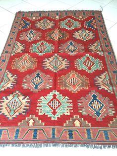 Uzbeki Kelim Handgewebter Teppich Rot 201x150 Oriental Rug Carpet Tapis Alfombra   eBay