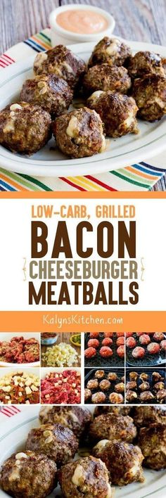 Low-Carb Grilled Bacon Cheeseburger Meatballs have comfort food written all over them! These meatballs have all the flavors of bacon cheeseburgers without the carbs, and they're also gluten-free and could be an occasional treat for the South Beach Diet. Low Carb Recipes, Beef Recipes, Cooking Recipes, Healthy Recipes, Meatball Recipes, Burger Recipes, Cheese Burger, Bacon On The Grill, Beach Meals