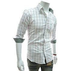 (HA741-WHITE) Slim Fit Patched 3/4 Sleeve Checker Shirts