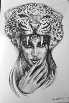 Titel:Tiger Lady (Tattoo Sketch) by Roman Hottmann year: 2014 Cool Sketches, Tattoo Sketches, Tattoo Drawings, Art Drawings, Drawing Art, Tattoos 3d, Cool Tattoos, Sketching Techniques, Art Techniques