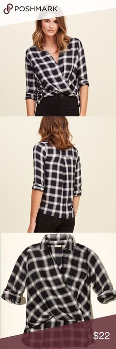 Selling this Plaid Wrap Front Shirt on Poshmark! My username is: aymtz. #shopmycloset #poshmark #fashion #shopping #style #forsale #Hollister #Tops