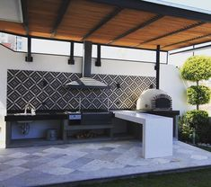 Kitchen liners: 90 models, designs and photos - Home Fashion Trend Modern Outdoor Kitchen, Backyard Kitchen, Outdoor Living, Outdoor Kitchen Bars, Outdoor Kitchens, Outdoor Pergola, Outdoor Areas, Outdoor Decor, Outdoor Barbeque Area