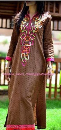 Brown chikan shirt with embroidery at the front ,to order this dress email us at the given address on the image or join our facebook page