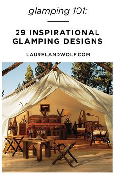 You don't need to pitch a tent to get in touch with nature. Enjoy the great outdoors in style with these incredible glamping designs. Bell Tent Camping, Rv Tent, Glam Camping, Cabin Tent, Camping Glamping, Outdoor Camping, House Tent, Tent Living, Tent Design