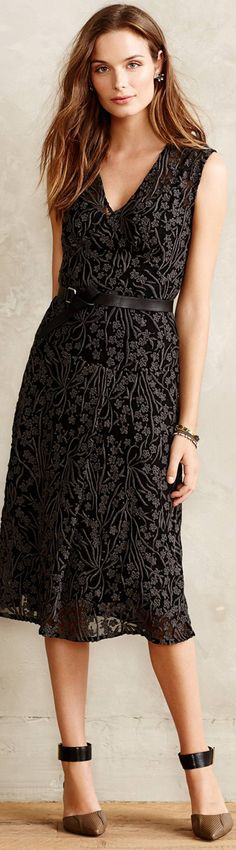 Another great LBD!  Love the lace, V-neckline, belt, length.  AND the shoes, although I would have never put them with this dress.