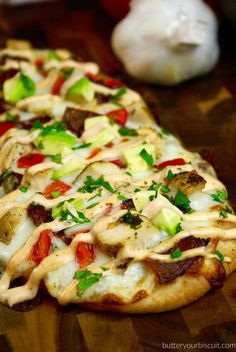 Chicken Club Flatbread with Chipotle Sauce