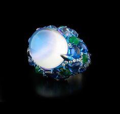 Arunashi Blue Moonstone Sapphire Emerald and Diamond Ring