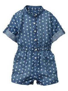 Floral convertible romper $26.95 Premium lightweight denim with allover floral print. Long sleeves with button cuffs. Sleeves can be rolled up and secured with button-tab closures. Stand collar. Button front. Elasticized waist. Slant patch pockets at front. Sizes 2T and under include snaps at inseam for easy dressing and diapering.